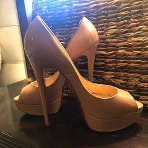 Auth Christian Louboutin Lady Peep Nude Heels